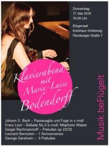 Plakat zum Konzert 'Musik beFlügelt' von Marie-Luise Bodendorff am 17.5.2018