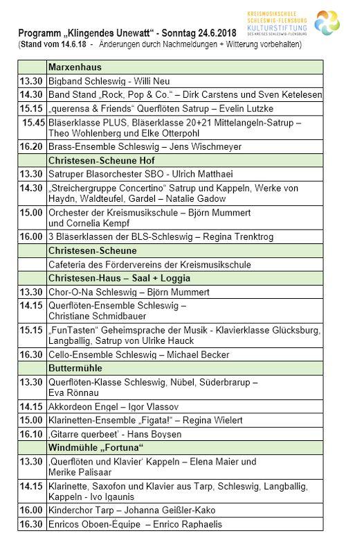 """Vorläufiges Programm zum Sommerkonzert """"Klingendes Unewatt"""" 224.6.2018"""