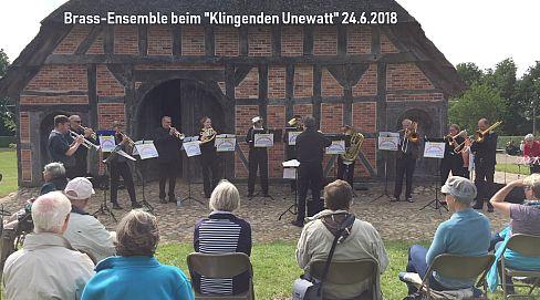 Brass-Ensemble der Kreismusikschule unter Leitung von Jens Wischmeyer beim 'Klingenden Unewatt' 24.6.2018