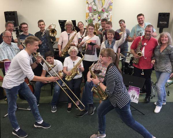 Bigband Schleswig probt für das Konzert 'Lindy hop' am 26.9.2018