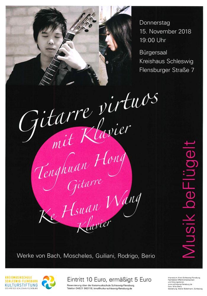 """Konzert """"Gitarre virtuos mit Klavier"""" in der Reihe Musik beFlügelt am 15. November 2018"""