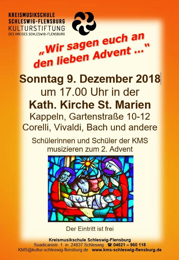 """Kappeln Adventskonzert """"Wir sagen euch an den lieben Advent..."""" am 9.12.2018"""