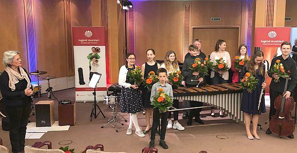 Christine Braun und die MusikerInnen beim MbF Preisträger-Konzert Bürgersaal Schleswig 9.5.2019